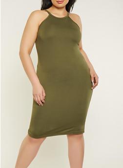 Plus Size Soft Knit Cami Dress - 1390038349811