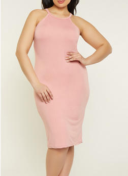 Plus Size Soft Knit Cami Dress - 1390038349811