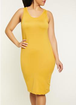 Plus Size Midi Soft Knit Tank Dress - 1390038349814