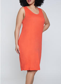 Plus Size Midi Soft Knit Tank Dress - 1390038349814