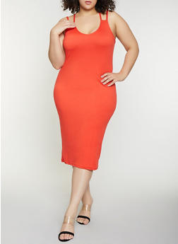 Plus Size Cross Back Cami Dress - 1390038349822