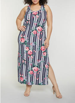 Plus Size Floral Striped Tank Maxi Dress - 1390038349909
