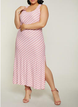 Plus Size Striped Side Slit Tank Maxi Dress - 1390038349910