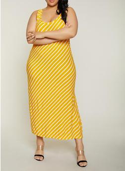 Plus Size Striped Side Slit Tank Maxi Dress - 1390038349910
