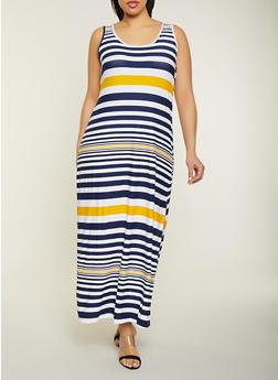 Plus Size Striped Side Slit Maxi Tank Dress - 1390038349915