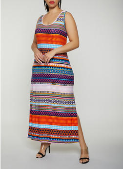 Plus Size Geometric Tank Maxi Dress - 1390038349919