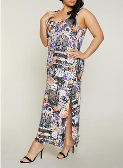 Plus Size Floral Magazine Print Maxi Dress - 1390038349920