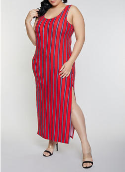 Long Red Plus Size Maxi Dress