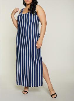 Plus Size Blue Striped Maxi Dress
