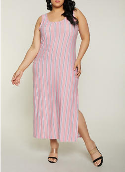 Plus Size Striped Soft Knit Tank Maxi Dress - 1390038349922