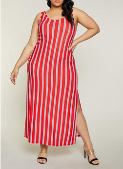 Plus Size Long Red Knit Dress