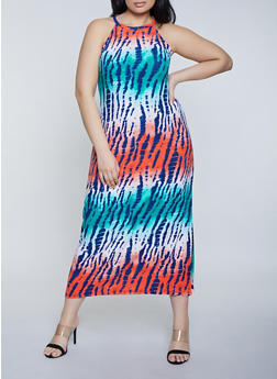 Plus Size Multi Color High Neck Tank Dress - 1390038349923