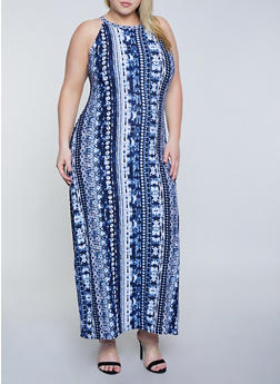 Plus Size Blue Printed Maxi Dress