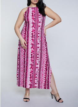 Plus Size Side Slit Printed Maxi Dress - 1390038349925