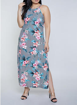 Plus Size Striped Floral Tank Maxi Dress - 1390038349926
