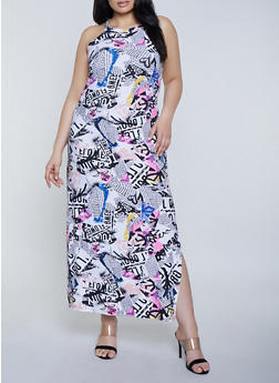 Plus Size Magazine Print Maxi Dress - 1390038349928