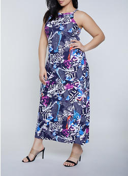 Plus Size Magazine Print Maxi Dress - 1390038349928