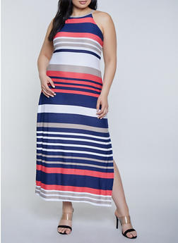 Plus Size Striped High Neck Maxi Dress - 1390038349929