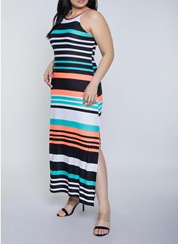 Plus Size Striped High Neck Maxi Dress - 1390038349929
