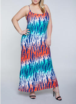 Plus Size Watermelon Print Tank Maxi Dress - 1390038349931