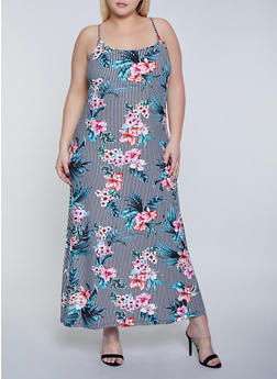 Plus Size Striped Floral Cami Maxi Dress - 1390038349932