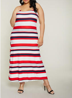 Plus Size Striped Cami Maxi Dress - 1390038349933