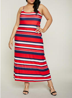 Plus Size Striped Cami Maxi Dress - 1390038349933