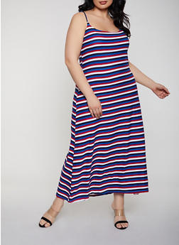 Plus Size Striped Maxi Cami Dress - 1390038349934