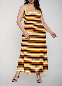 Plus Size Striped Maxi Cami Dress - 1390038349934