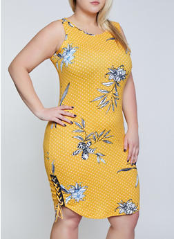 Plus Size Printed Lace Up Side Tank Dress - 1390038349970