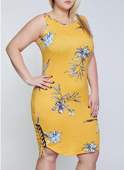 af47eff1b1c Plus Size Printed Lace Up Side Tank Dress - 1390038349970