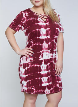 Plus Size Caged Tie Dye T Shirt Dress - 1390038349977
