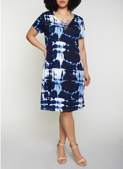 Plus Size Caged Neck Tie Dye Dress - 1390038349978