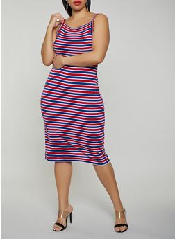 Plus Size Striped Ribbed Knit Tank Dress - 1390038349985