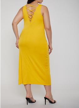 Plus Size Caged Back Tank Dress - 1390038349993