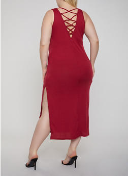 Plus Size Caged Back Tank Dress - 1390038349993