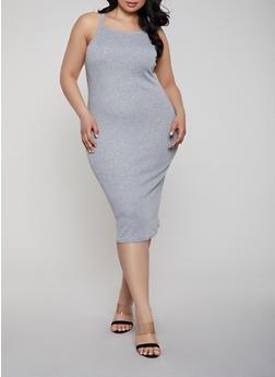 Plus Size Square Neck Ribbed Knit Tank Dress - 1390038349995
