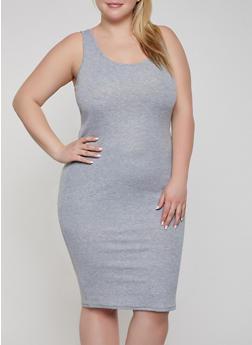 Plus Size Ribbed Knit Racerback Tank Dress - 1390038349996