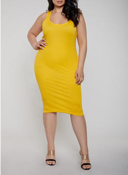 Plus Size Ribbed Knit Racerback Tank Dress - 1390038349996