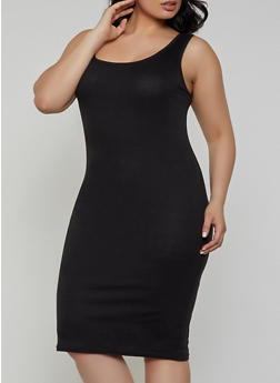 Plus Size Rib Knit Tank Midi Dress | 1390038349997 - 1390038349997
