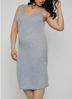 Plus Size Rib Knit Tank Midi Dress   1390038349997 - 1390038349997