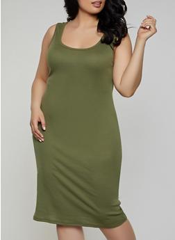 Plus Size Rib Knit Tank Midi Dress | 1390038349997 - 1390038349997