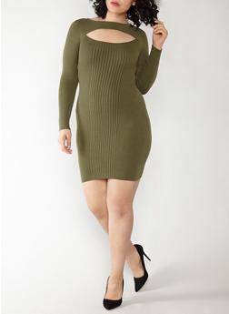 Plus Size Keyhole Neck Sweater Dress - 1390051060001