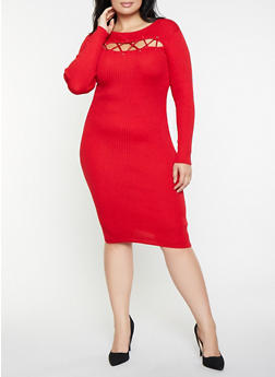 Plus Size Lace Up Sweater Dress - 1390051060061