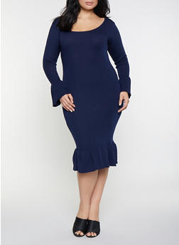 Plus Size Bell Sleeve Sweater Dress - 1390051060062