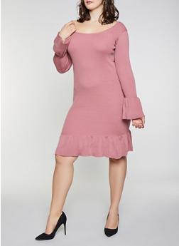 Plus Size Bell Sleeve Sweater Dress - 1390051060062