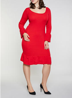 724790b9512 Plus Size Bell Sleeve Sweater Dress - 1390051060062