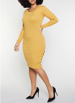 Plus Size Rib Knit Sweater Dress - 1390051060063