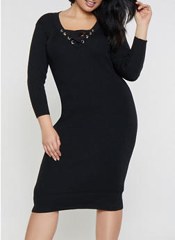 Plus Size Lace Up Sweater Dress - 1390051060064