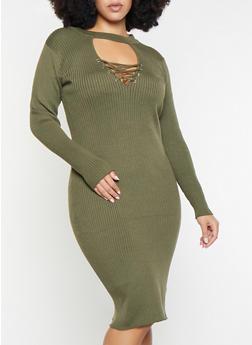 Plus Size Lace Up Keyhole Sweater Dress - 1390051060065